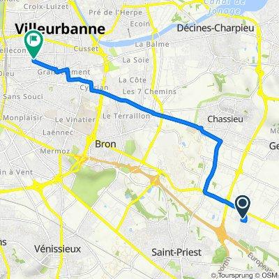 De 6 Rue Paul Verlaine, Saint-Priest à 8 Avenue Marc Sangnier, Villeurbanne
