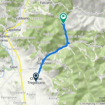 Percorso da Località Tregozzano 71E, Chiassa-Tregozzano