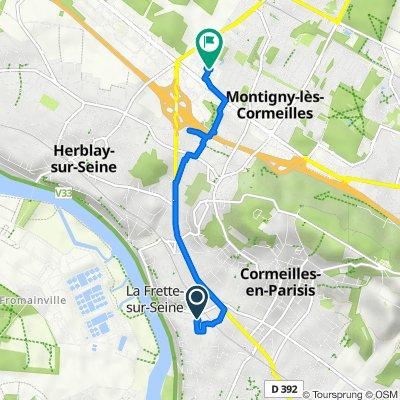 De 14 Rue de la Côte Saint-Rémy, Cormeilles-en-Parisis à 12 Mail des Copistes, Herblay