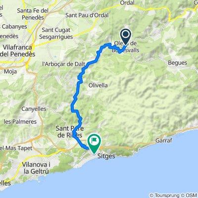 De Carrer I'antiga, Olesa de Bonesvalls a Passeig de Vilanova, Sitges