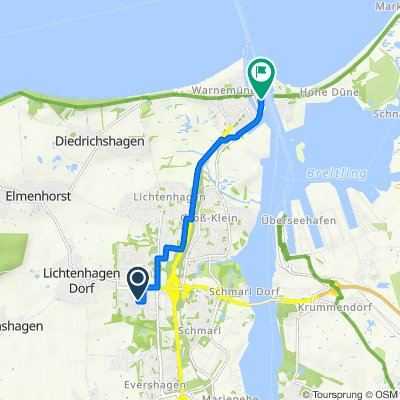 Stockholmer Straße 5, Rostock nach Am Passagierkai 1, Rostock