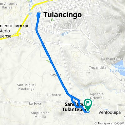 De Privada Pedro Garcáa Rangel, Santiago Tulantepec de Lugo Guerrero a Calle 18 de Marzo, Santiago Tulantepec de Lugo Guerrero