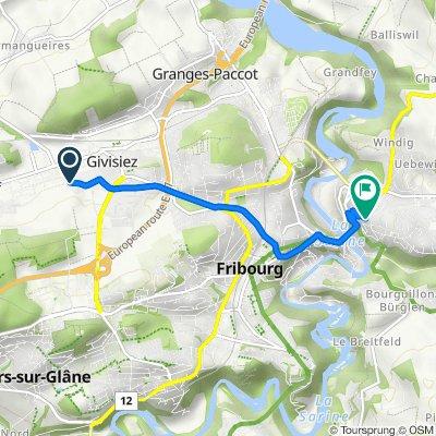 De Route du Château d'Affry 38B, Givisiez à Chemin des Kybourg 16A, Fribourg