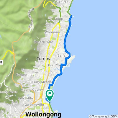 Cliff Road, North Wollongong to Cliff Road, North Wollongong