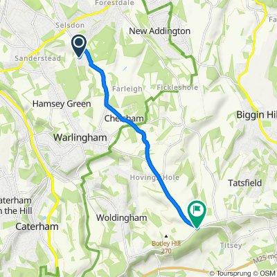 34 Cranscombe, Kingswood Way, South Croydon to The Ridge, Titsey, Warlingham