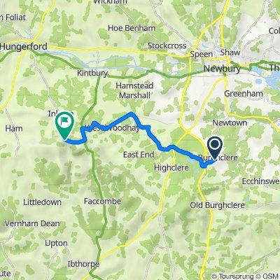 Route from 42 Breachfield, Newbury