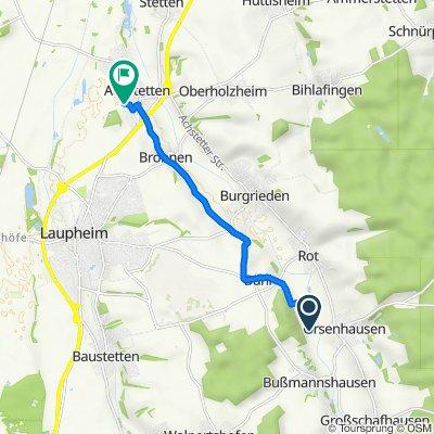 Route nach Am Bach 24, Achstetten