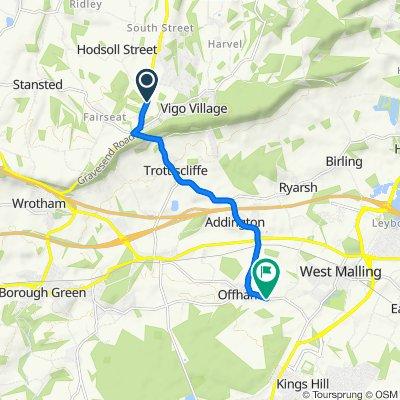 Gravesend Road, Wrotham, Sevenoaks to Three Roods, Teston Road, West Malling