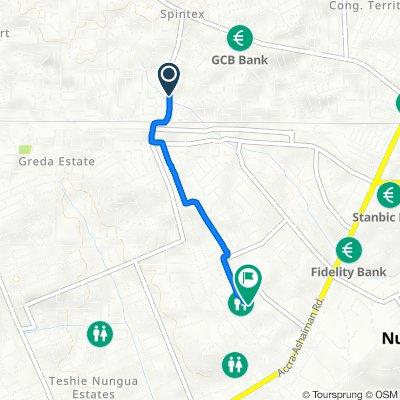 Baatsonaa Road, Accra to Nuumo Adra Borlabi Avenue, Accra