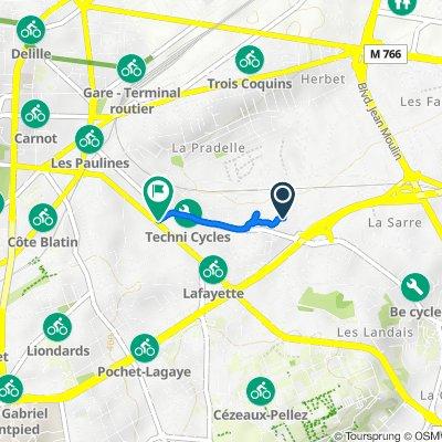 De 30 Impasse des Sources, Clermont-Ferrand à 109 Boulevard Lafayette, Clermont-Ferrand