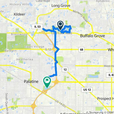 Route to 1200 E Twin Lake Dr, Palatine