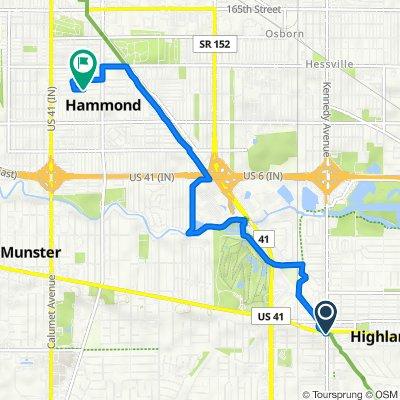 8700–8744 Kennedy Ave, Highland to 1041 E 170th Pl, Hammond