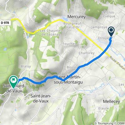 De Chemin de la Corvée, Mercurey à Rue du Mont-Abon, Saint-Mard-de-Vaux