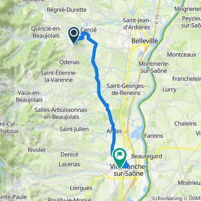 De Route de la Chapelle, Odenas à 34 Rue de la Paix, Villefranche-sur-Saône
