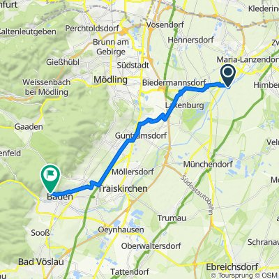 Untere Ortsstraße, Achau nach Mozartstraße 9a, Baden