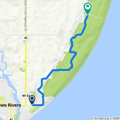 Route from 600–698 22nd St, Two Rivers