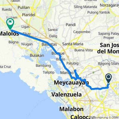 Quezon City to Paseo del Congreso Street 23, Malolos