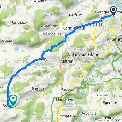 De Route des Grives 53, Granges-Paccot à Route de la Goille 41, Cottens FR