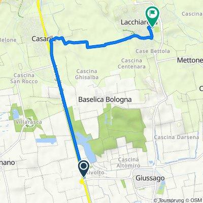 Da Strada Alzaia Naviglio Pavese, Vellezzo Bellini a Via Milite Ignoto 33, Lacchiarella