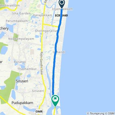 Injambakkam, Chennai to Muttukadu Boat House, Muthukadu