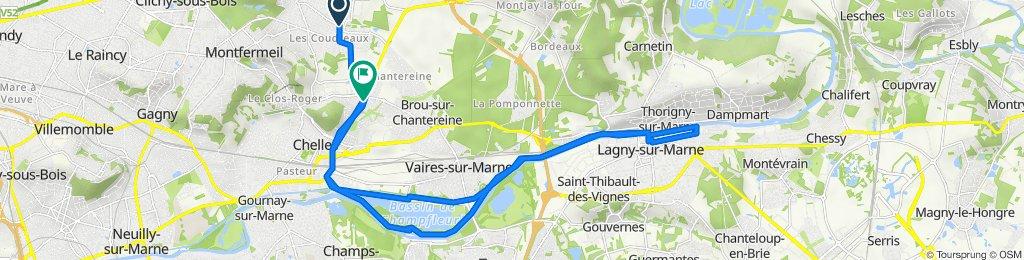 De 105 Avenue Pasteur, Courtry à 21 Rue de la Couture aux Huats, Chelles