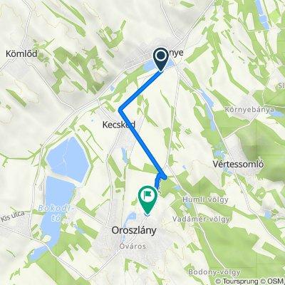 Route to Környei út 3., Oroszlány