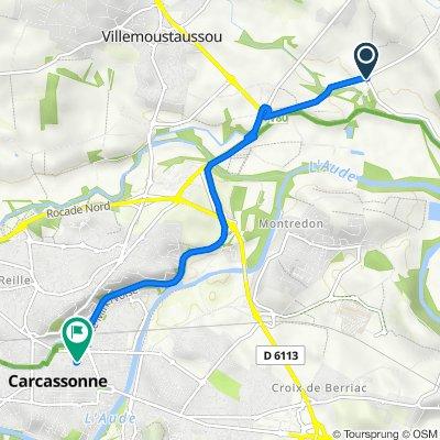De D201, Villemoustaussou à 56 Rue Georges Clemenceau, Carcassonne