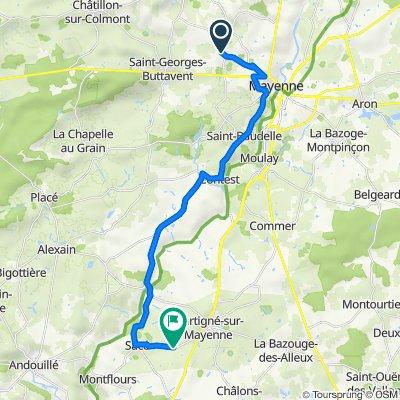 De 8 Rue des Artistes, Parigné-c dep idhsur-Braye à D250, Martigné-sur-Mayenne