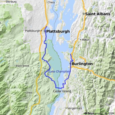 Champlain Loop for Mom hotel to ferry to colchester