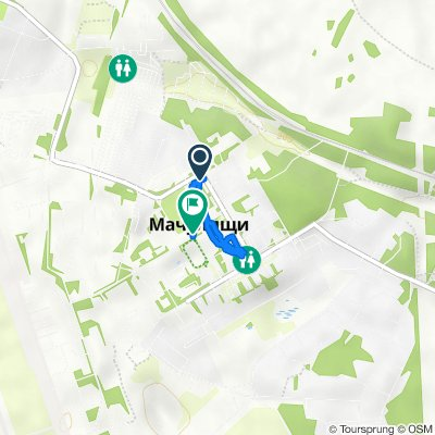 От улица Гвардейская 2, Мачулищи до улица Героев 1, Мачулищи