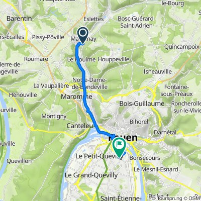 De Route de Dieppe 165, Malaunay à Rue de la République 43, Sotteville-lès-Rouen
