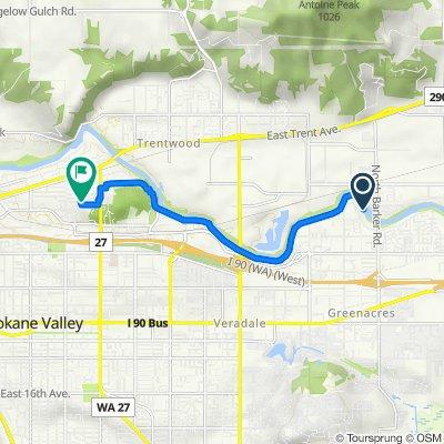 Route to 2718 N Fox Ln, Spokane Valley