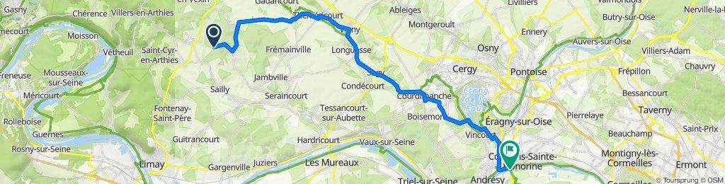 Chemin aux Mouches 1, Aincourt to N184, Conflans-Sainte-Honorine