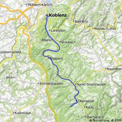 Koblenz HBF nach Jugenherberge Oberwesel