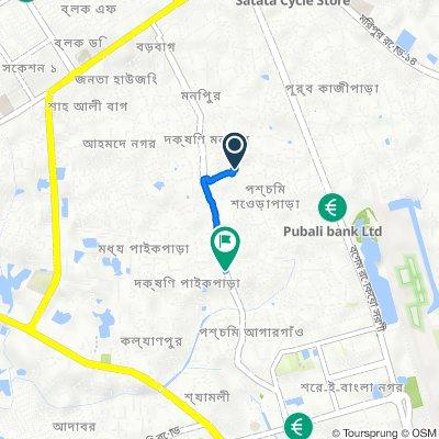 South Monipur Road 308, Dhaka to South Paikpara - Pirerbag Amtola Road 1, Dhaka