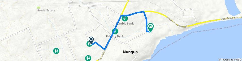 Route from Nuumo Adra Borlabi Avenue, Accra