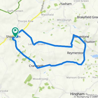 75 Pound Green Lane, Thetford to 1–5 Richard Haggard Close, Shipdham, Thetford