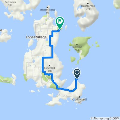 1085–1327 Sperry Rd, Lopez Island to Spencer Spit State Park Rd, Lopez Island