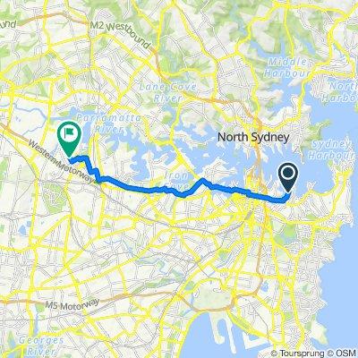 54–63 New Beach Road, Darling Point to Herb Elliott Avenue, Sydney Olympic Park