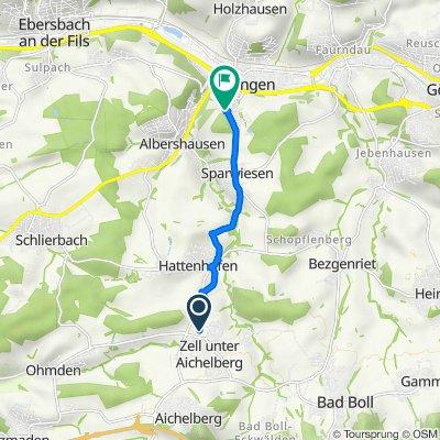 Daimlerstraße 3, Zell unter Aichelberg nach Limburgstraße 11, Uhingen