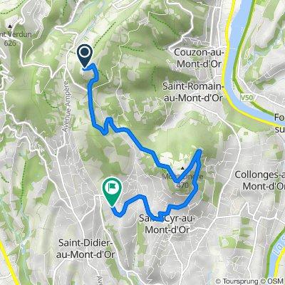 De Mont Thou, Saint-Cyr-au-Mont-d'Or à 68bis Rocade des Monts d'Or, Saint-Didier-au-Mont-d'Or