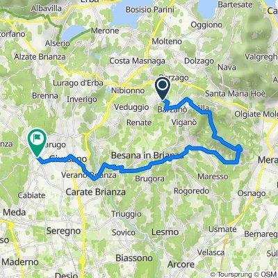 Piazza Don Severino Colombo 5, Cremella to Via Montebello 38, Mariano Comense