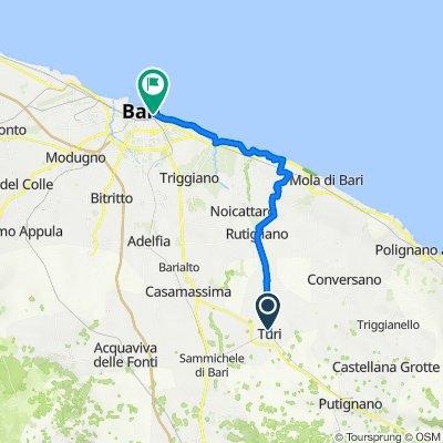 Da Via Pietro de Donato Giannini 96, Turi a Piazza Armando Diaz 12, Bari