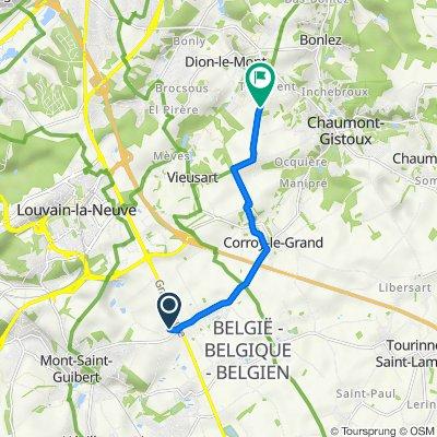 De Rue du Petit Baty 13, Mont-Saint-Guibert à Tout Vent 42–50, Chaumont-Gistoux