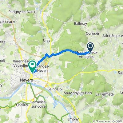 De 90 Route de Saint-Sulpice, Montigny-aux-Amognes à 92B Rue Mademoiselle Bourgeois, Nevers