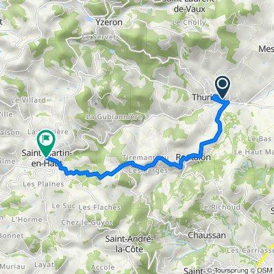 De 17 Chemin de la Martinière, Thurins à 1–25 Place de la Mairie, Saint-Martin-en-Haut