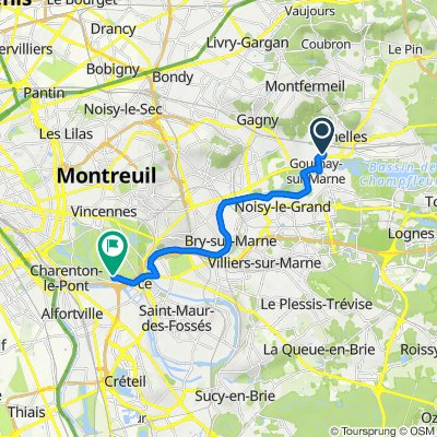 De 2 Rue Jeanne d'Arc, Chelles à Route du Pesage, Paris