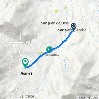 De San Rafael Arriba ATD, San Rafael Arriba de Desamparados a Aserri