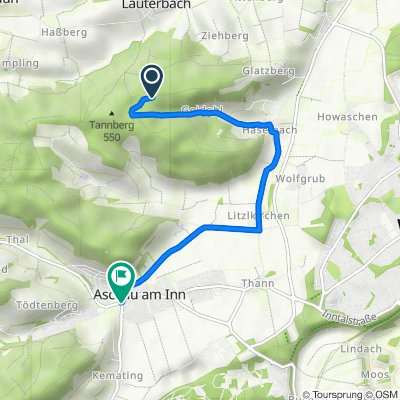 Route nach Hauptstraße 7–7A, Aschau am Inn