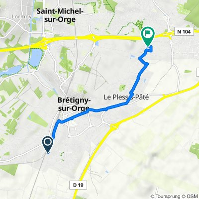 De Cité de la Saussaie 4, Brétigny-sur-Orge à Rue Lucien Sampaix 1, Sainte-Geneviève-des-Bois